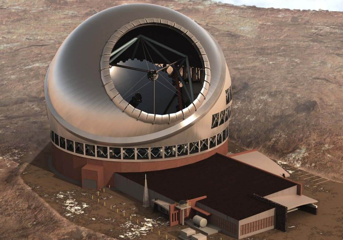 The Thirty Meter Telescope (TMT) will be located on the summit of Mauna Kea, an extinct volcano in Hawaii.