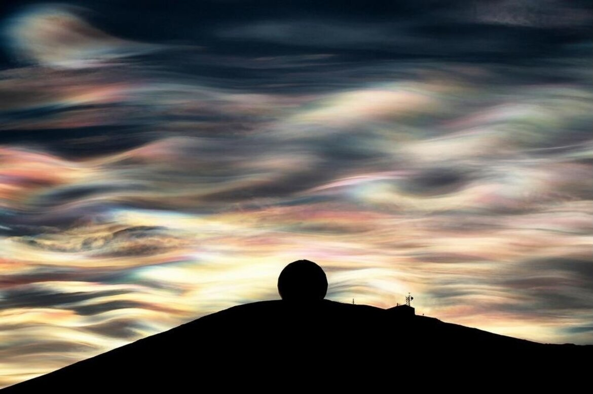 Nacreous clouds over Antarctica