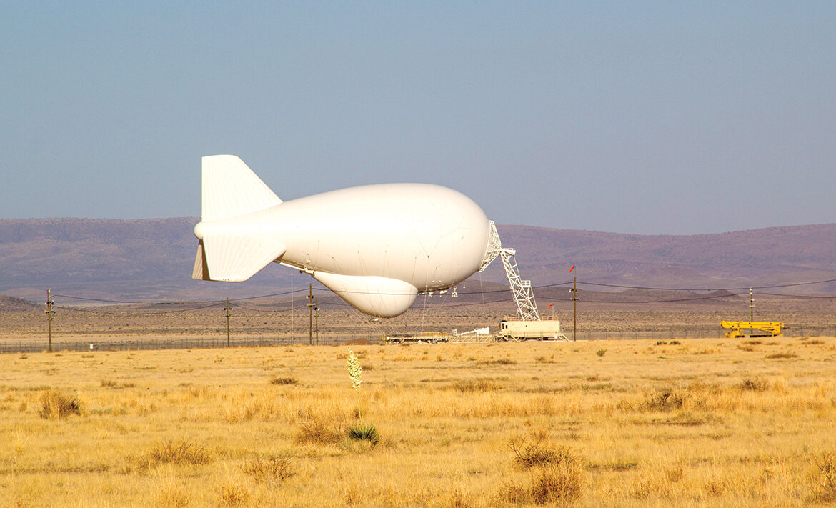 A blimp that is part of the U.S. Department of Homeland Security's Tethered Aerostat Radar System