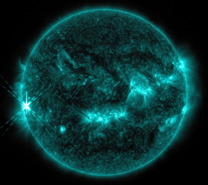 Captured by NASA's Solar Dynamics Observatory, this picture shows the explosion of a solar flare from the right side of the sun.
