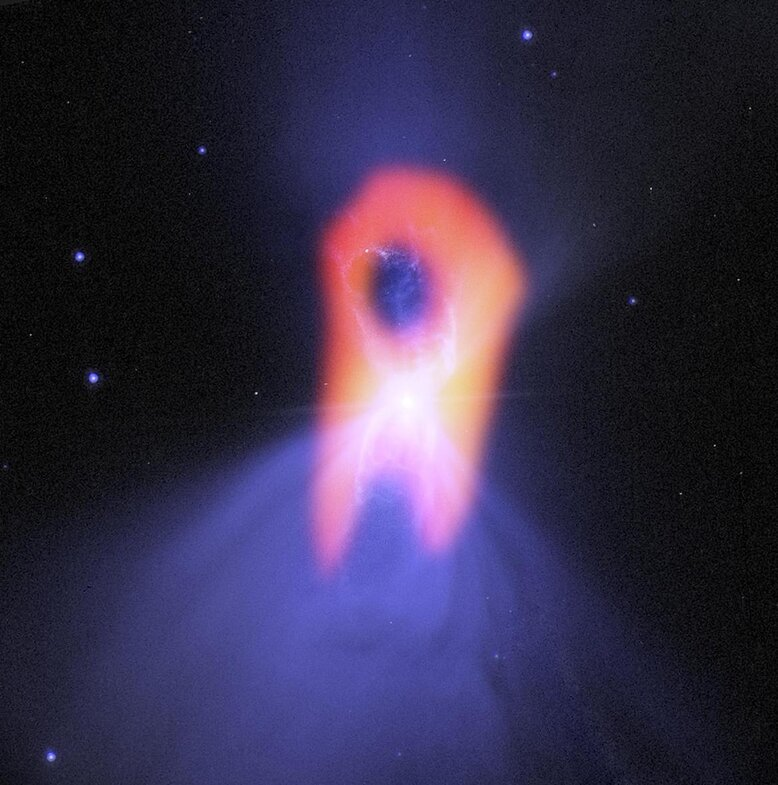 The ghost-shaped Boomerang nebula, as captured by a telescope from the ALMA observatory in Chile.