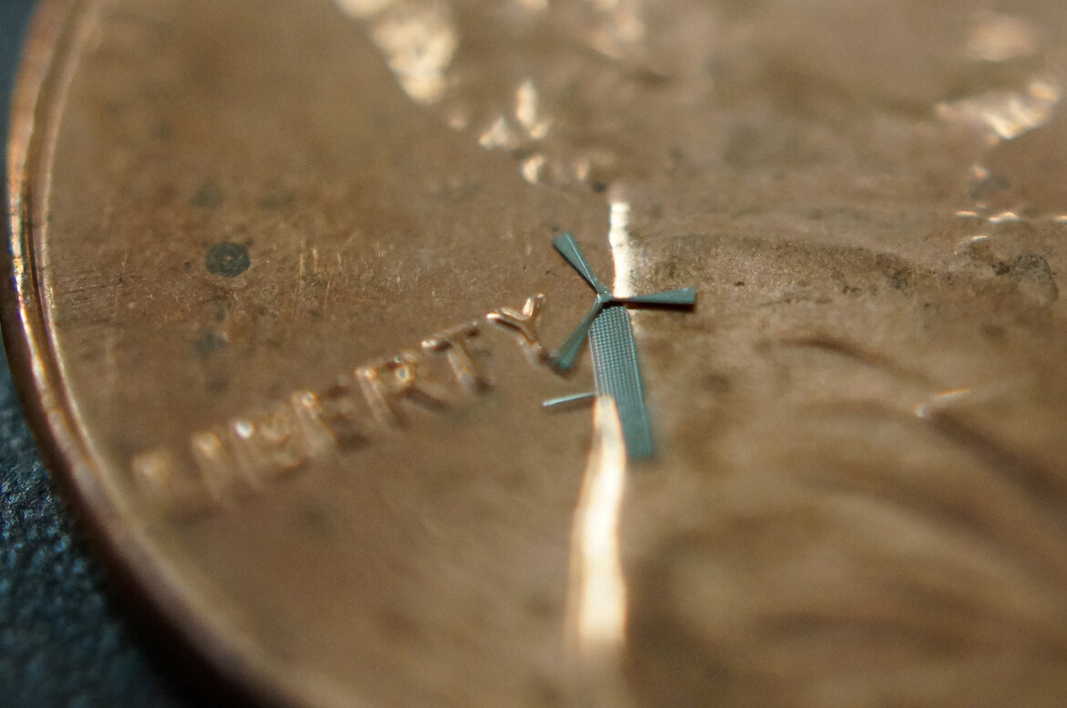 micro-windmill compared to a penny