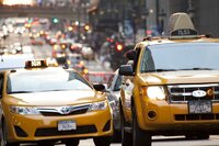 Taxis at 42nd Street in New York City.