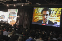 Edward Snowden talks during the SXSW