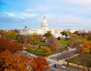 U.S. Capitol building in Washington D.C. from a few blocks away with fall colors