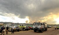 High Park Fire wildland fire crews at the Incident Command Post in Fort Collins, Colo., in June 2012