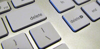 Cropped keyboard with multiple delete keys to reflect government censorship of social media activity