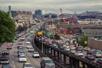 Traffic on the Alaskan Way Viaduct in Seattle