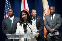 Jacksonville CIO Usha Mohan speaks during a news conference