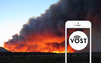 Virtual Operations Support Team icon against the backdrop of an Oregon fire