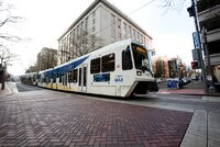 A Trimet light rail train in Portland, Oregon