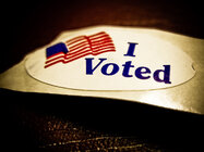 """I Voted"" sticker given to voters at polling places"
