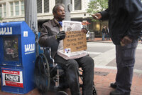 A homeless veteran in Portland.