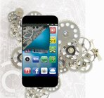 Smartphone, apps and gears for story on agency state apps