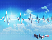 Medical heartbeat with rays and soft white clouds.