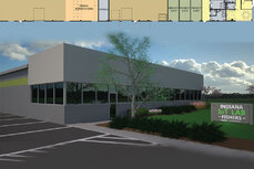 A rendering of the Indiana IoT Lab exterior in Fischers.