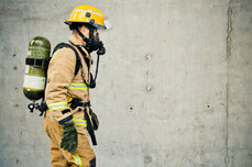 Firefighter with face mask