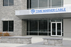 The entrance to Time Warner Cable's building in Morrisville, N.C.