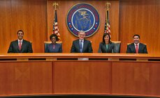 From left to right: Commissioner Ajit Pai, Commissioner Mignon Clyburn, Chairman Tom Wheeler, Commissioner Jessica Rosenworcel and Commissioner Michael O'Reilly.