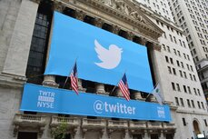 Twitter banner on the New York Stock Exchange
