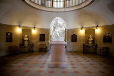 A George Washington statue inside the North Carolina State Capitol.
