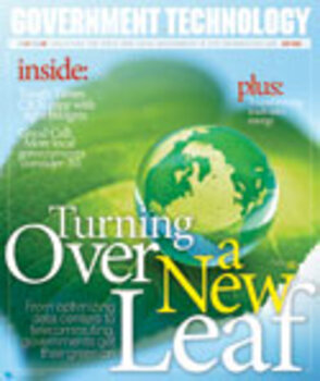 Leaf with globe for story on green government