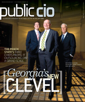 Georgia CIO Patrick Moore, CEO and Gov. Sonny Perdue, COO Jim