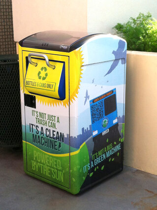 A solar-powered trash compacting bin.