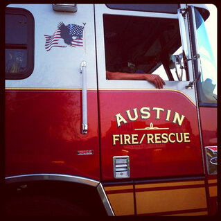 Close-up view of an Austin, Texas Fire and Rescue truck