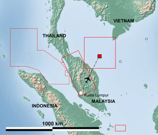 The search area for Malaysia Airlines flight 370