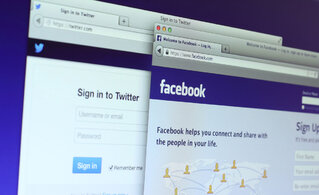 Log-in pages for social media platforms Facebook and Twitter