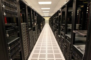 Rows of racks holding servers in a San Antonio data center