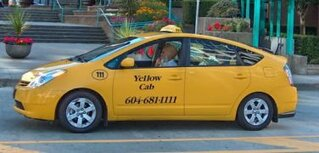 A hybrid taxicab in Vancouver, Canada.