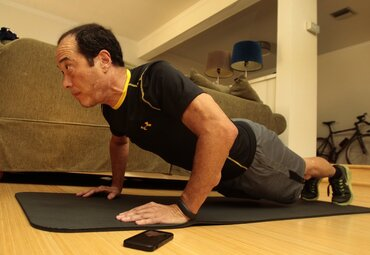 Charlie Wynkoop tracks his exercise using a digital fitness device