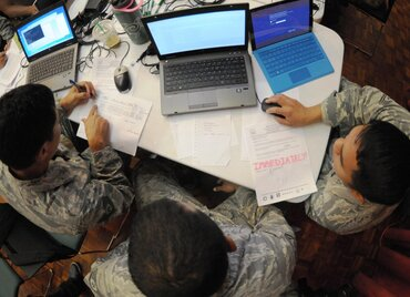 Members of a cyber protection unit with the Hawaii Air National Guard