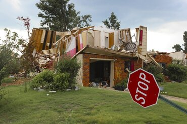 Damage to a home in Birmingham, Ala., from a tornado