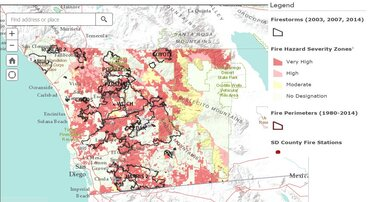 San Diego County wildlife severity map