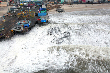 Aerial view of Hurricane Sandy hitting the New Jersey coast in October 2012
