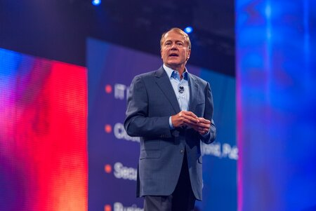 Cisco CEO John Chambers addresses the crowd in San Francisco at the keynote address at CiscoLive 2014.