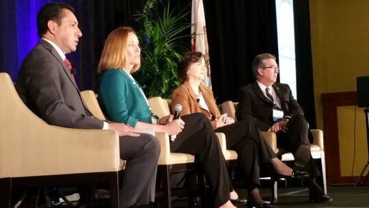 California CIO Carlos Ramos, Assemblymember Jacqui Irwin, former Assemblymember Joan Buchanan, Assemblymember Ken Cooley.