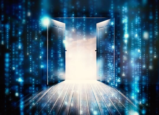 Open door surrounded by data and binary symbols.