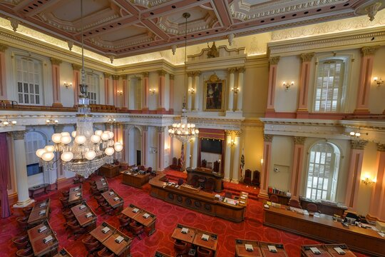 An empty Senate chamber at the California State Capitol building in Sacramento.