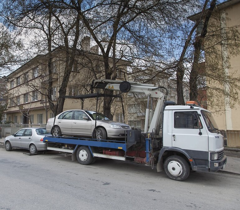 A car being towed.