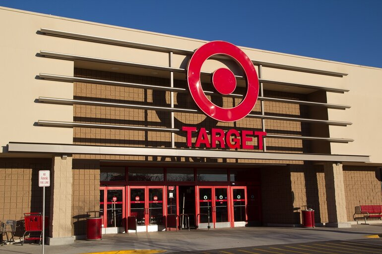 A frontal view of a Target store.