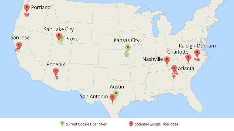 Map of possible Google Fiber cities