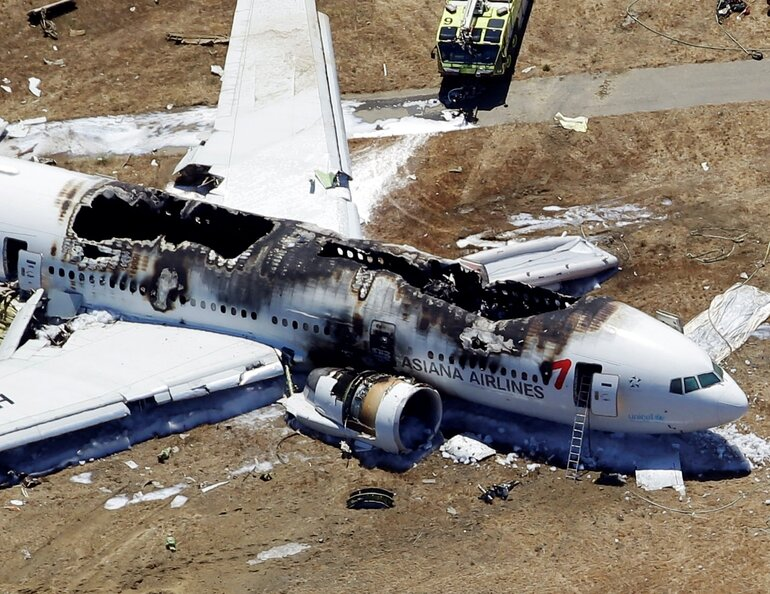 The wreckage of the Asiana Flight 214 airplane after it crashed at the San Francisco International Airport on July 6, 2013