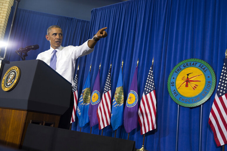 President Barack Obama speaks in the Choctaw Nation