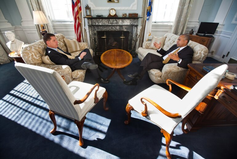 Massachusetts Governor Deval Patrick (right) meets with incoming Boston Mayor Martin Walsh
