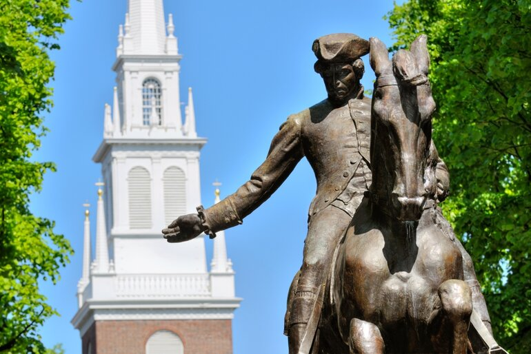 Paul Revere Statue and Old North Church in Boston Massachusetts
