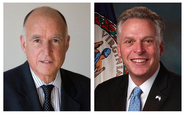 California Gov. Jerry Brown and Virginia Gov. Terry McAuliffe